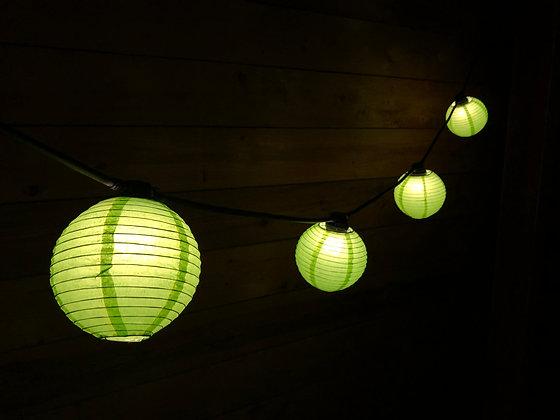 Guirlande Linéaire  6,0 m -12 Lanternes papier Verte - Amp. Led 1W - 3000 K°