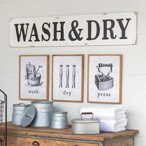 Embossed Metal Wash & Dry Sign