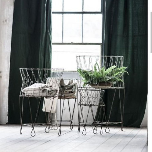 Set of 3 Collapsible Metal Laundry Baskets w/legs