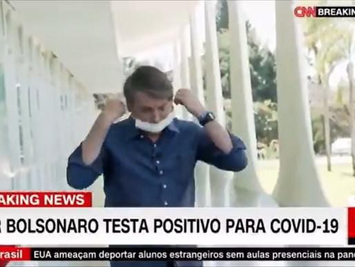 Jair Bolsonaro se sacó la mascarilla tras anunciar que dio positivo por Covid-19