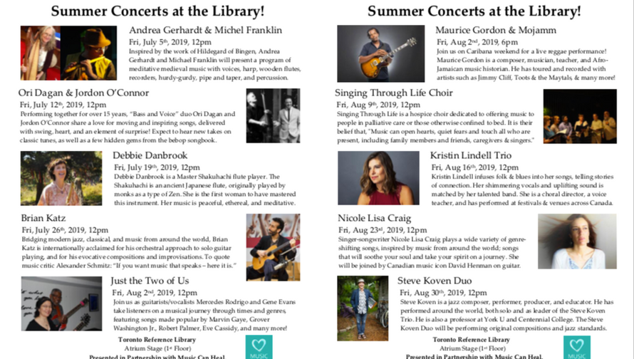 Toronto Reference Library Summer Concert Series 2019 Flyer