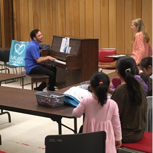 Ori Dagan teaching the art of jazz scatting and improv at Parkdale Library as part of Culture Week