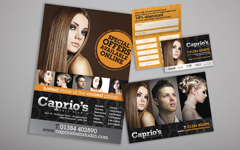 Caprios Hair Studio Leaflets & App Cards