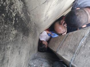 Bombeiros resgatam criança presa entre o muro e o poste