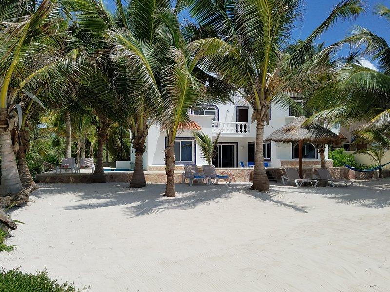 white beachfront villa with palm trees