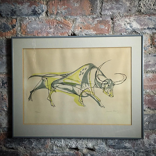 Walter Bodmer 'Spotted Bull' Original colour lithograph.