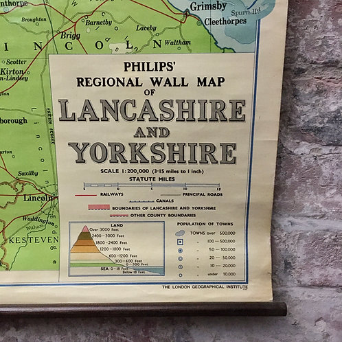 Vintage Philips' School map of Lancashire and Yorkshire.