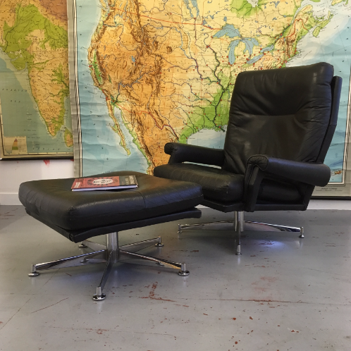Howard Keith swivel chair and footstool. SOLD