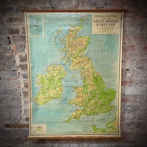 Beautiful large vintage school map of Great Britain.