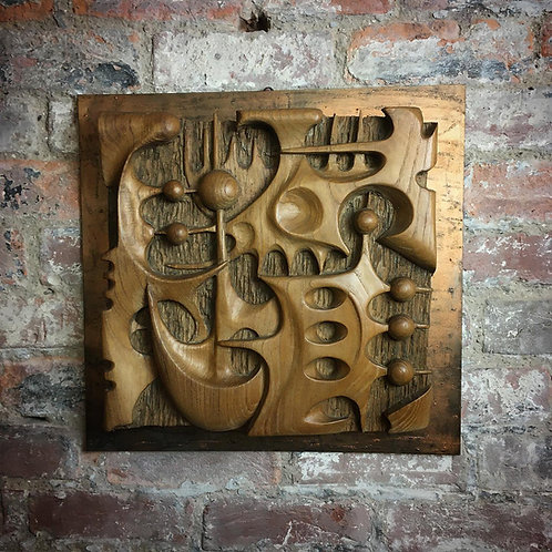 T Demetz Hand carved abstract wall panel. SOLD