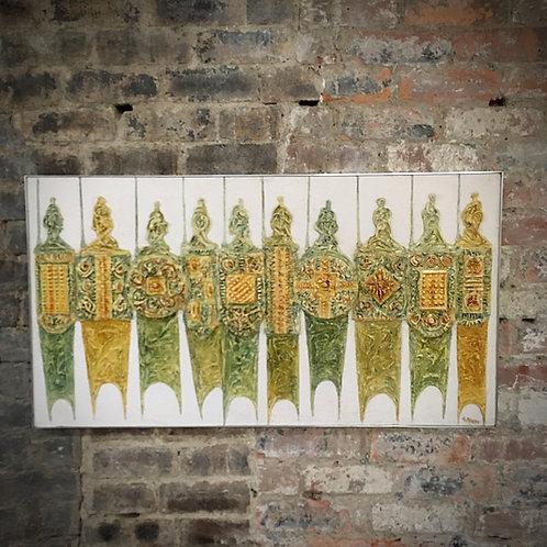 George Craig Spence (b.1931). Large, mixed media wall art panel.1960s.