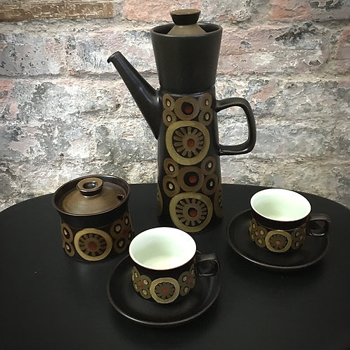 Denby 'Arabesque' Coffee set, designed by Gill Pemberton