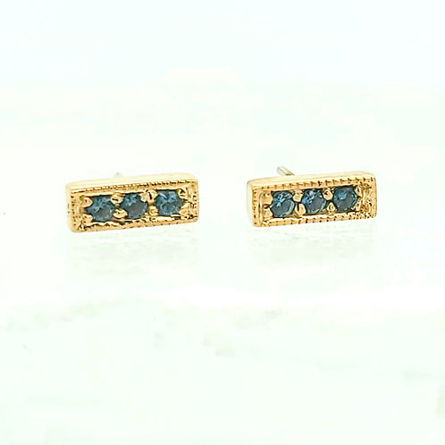Micro Pave Strip with London Blue Topaz in Yellow Gold