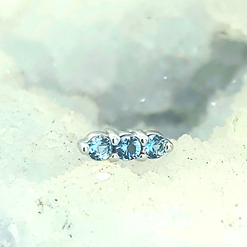 Linear Tri Prong Cluster with Aquamarine AA