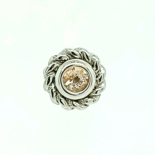 Mini Choctaw in White Gold with Oregon Sunstone