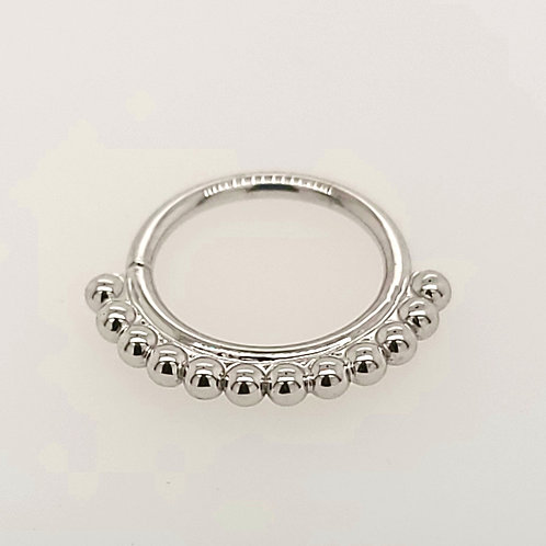 Latchmi Beaded Seam Ring in White Gold
