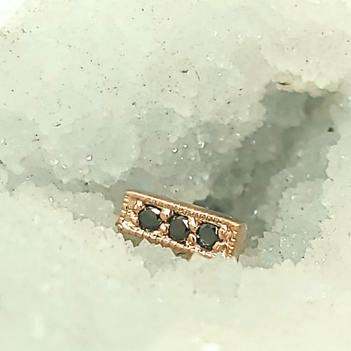 Micro Pave Strip with Black Diamonds in Yellow Gold