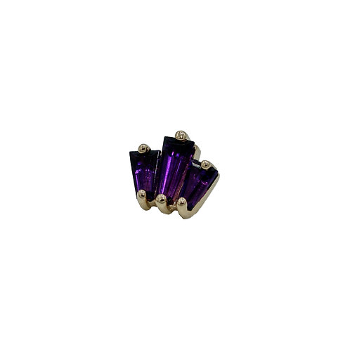 Tapered Baguette Fan with Amethyst