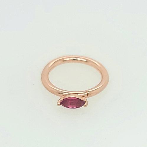 Rose Gold Rhodolite Garnet Marquise Daith Ring