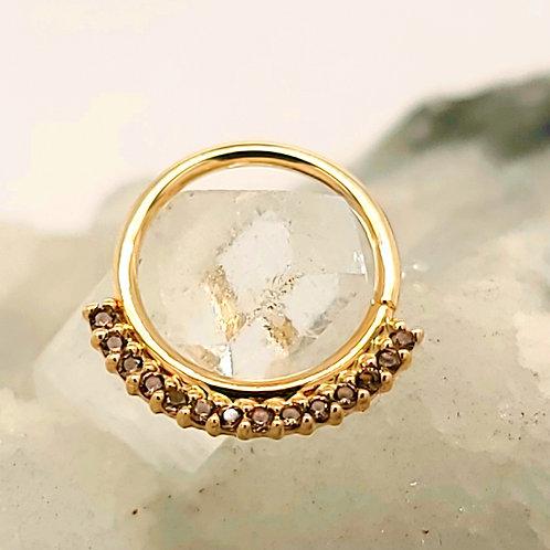 Smoky Quartz Dahlia Yellow Gold Seam Ring