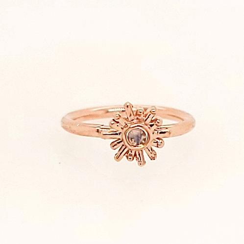 Rainbow Moonstone Sunray Rose Gold Seam Ring