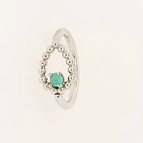 Beaded Sophie Tear Seam Ring With Chrysoprase in White Gold