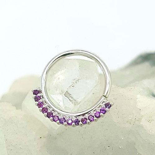 Amethyst Dahlia White Gold Seam Ring