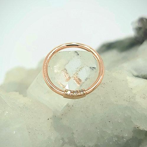 White Diamond Three Gem Blaze Seam Ring in Yellow Gold Septum