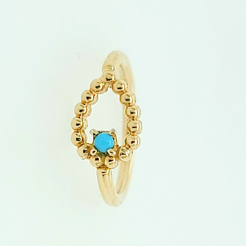 Beaded Sophie Tear Seam Ring With Turquoise in Yellow Gold