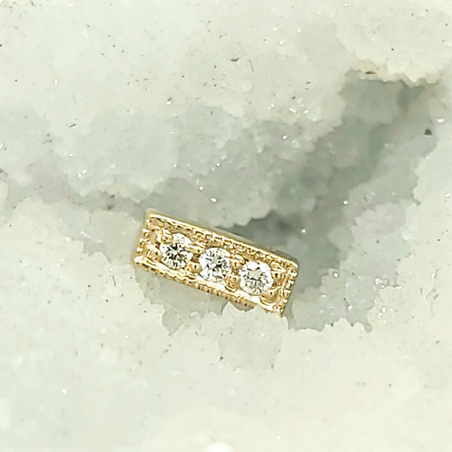 Micro Pave Strip with White Diamonds in Yellow Gold