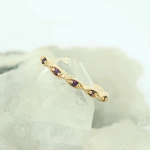 Yellow Gold 8 Stone Amethyst Marquise Violet