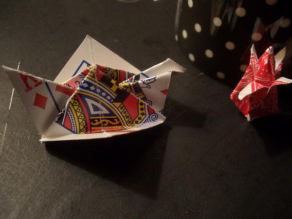 origami playing card bird flower