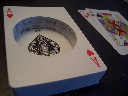 hollow playing cards cut out
