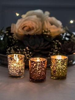 10 Hour Votive Candles And Metallic Candle Holders