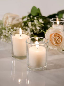 15 Hour Votive Candles And Metallic Candle Holders