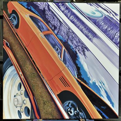 "$495 - ""Show 'N' Shine"" - Acrylic on canvas - 1mtr x 1mtr."