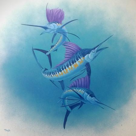 'Ocean Knights' - Acrylic on Canvas - 1mtr x 1mtr.