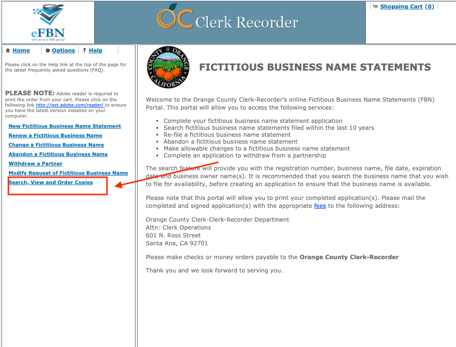 How to search for a dba in Orange County