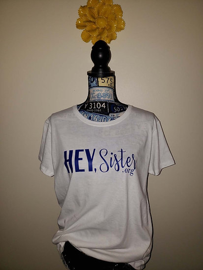 HEY, Sister DENIM Elite Logo White Women's Tee