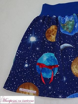 Falda Te regalo la luna Mariposas en invierno, hecha a mano en Bilbao