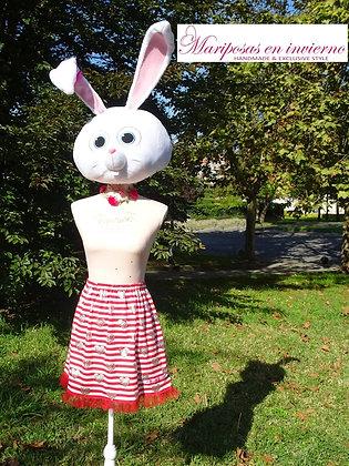 Falda rojiblanca con corazones
