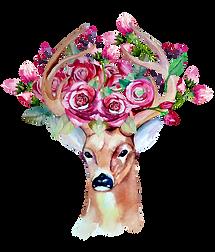 Ciervo cabeza flores