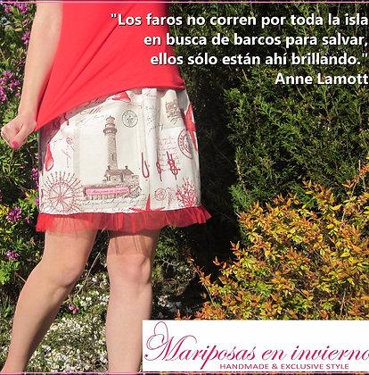Falda Faros. Falda corta diseñada y hecha a mano en Bilbao by Mariposas en invierno