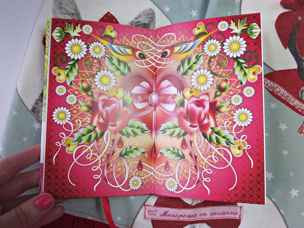 Ilustración corazón, rosas y pájaros de Amor de Paulo Coelho