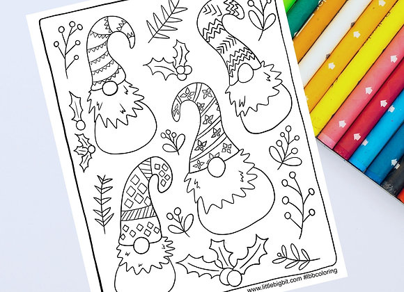 Gnome Friends Christmas Holiday Coloring Page | Hand drawn printable page
