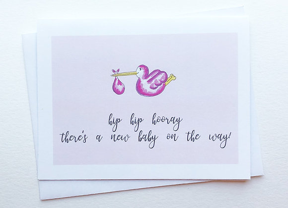 Pink New Baby Card
