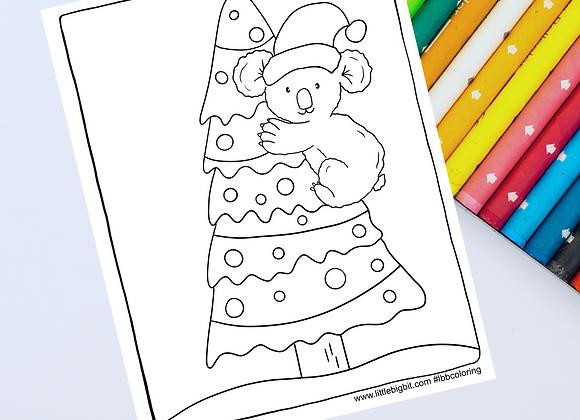 Koala Christmas Coloring Page | Hand drawn printable page