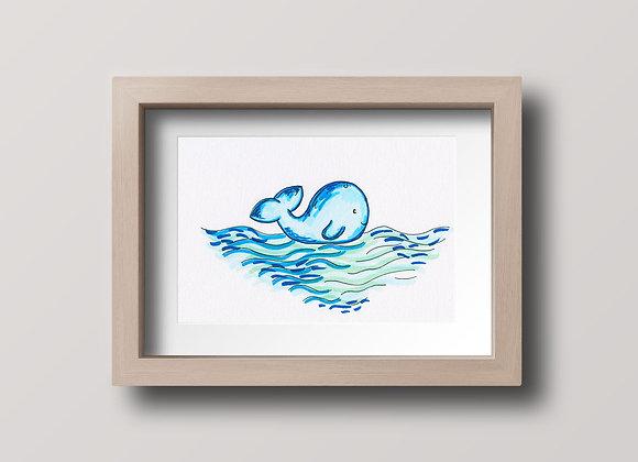 Wavy Whale- Original Illustration
