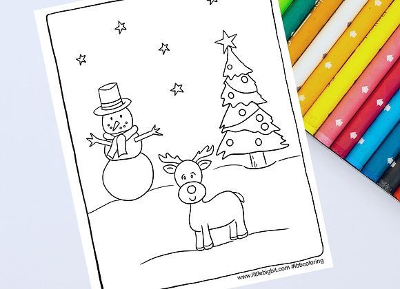 Christmas Friends Coloring Page   Hand drawn printable page