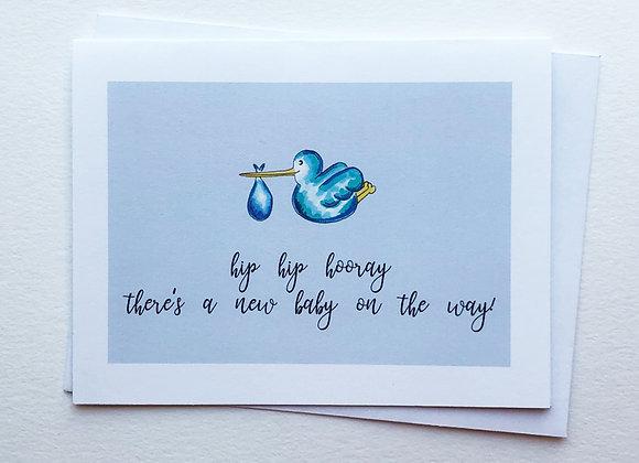 Hip Hip Blue New Baby Card
